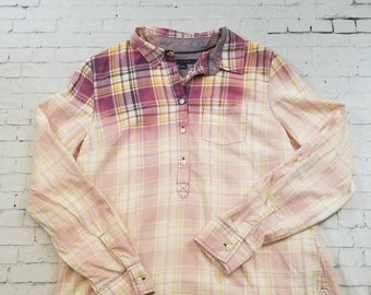 Bleached Flannel Plaid Shirt Ladies M, Hand Bleached Cool Ombre Fade Updated Light Flannel Shirt Boho Grunge