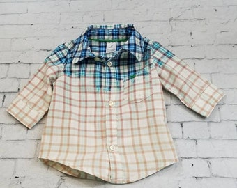 Kids Bleached Light Cotton 3/4 Sleeve Shirt 3 Months, Blue Bleach Plaid Cool Ombre Fade Boho Grunge