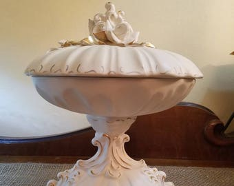 "Vintage Florence Ceramics Pedestal Candy Dish w/ Lid - 8 1/4"" Tall - Cream Compote w gold trim and flowers -Satin Finish - Vintage"