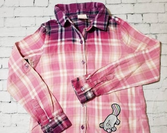 Kids Bleached Flannel Long Sleeve Pink Shirt Girls Small , Pink Plaid Bleached Shirt Cool Ombre Fade Boho Grunge, Platycorn Patch