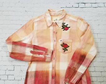 Bleached Flannel Plaid Shirt Ladies Medium, Hand Bleached Flannel w Rose Patches, Cool Ombre Fade, Updated Flannel Shirt, Boho, Grunge