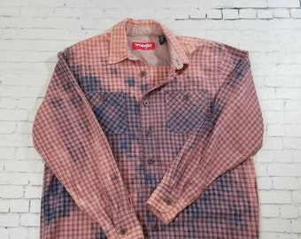 Bleached Flannel Shirt Mens Medium, Hand Bleached Plaid Mens Shirt, Cool Mottled Ombre Fade, Updated Flannel Shirt, Boho Grunge