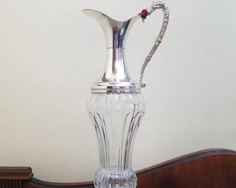 Crystal Silver Toned Metal Olive Oil Ewer Made in Italy, Elegant Liqueur Decanter with Cork Stopper