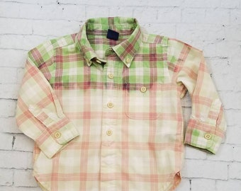 Kids Bleached Plaid Long Sleeve Shirt 12-18 Months, Green and Purple Bleached Plaid Cool Ombre Fade Grunge Boho