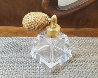 Vintage Crystal Perfume Bottle, Art Deco Style Crystal Atomizer Perfume Bottle -  2 small chips