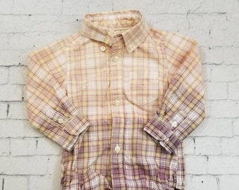 Kids Bleached Light Cotton Long sleeve Onesie 6 Months, Purple Green and White Plaid Cool Ombre Fade Grunge, Boho