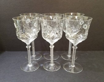 "Vintage Rock Sharpe Floral Etched Crystal Water Glass 7.75"" Tall,  Set of 6 Crystal Water Goblets, Swag pattern 1005-1"