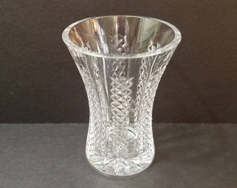 """Vintage Waterford Crystal 6"""" Flower Vase, Possibly WAT45, Panel Criss Cross Pattern and Super Heavy!"""