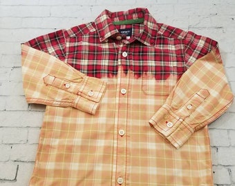 Kids Bleached Long Sleeve Cotton Shirt 4T , Red and Black Plaid Hand Bleached Cool Ombre Fade, Grunge Boho