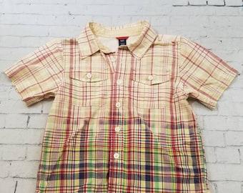 Kids Bleached Cotton Shirt 4T Short Sleeve Kids Shirt, Red Multi Bleached Plaid Shirt Cool Ombre Fade Grunge Boho,