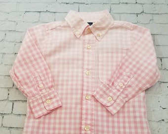 SOLD kids Bleached Heavy Cotton Long Sleeve Pink Shirt 2T , Pink Check Bleached Shirt Cool Ombre Fade Boho Grunge
