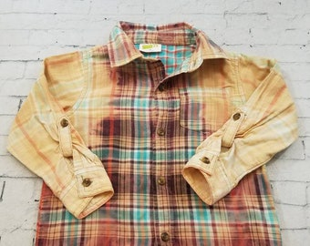 Kids Bleached Heavy Long Sleeve Cotton Shirt 3T Kids, Purple And Blue Plaid Hand Bleached Cool Ombre Fade Boho Grunge