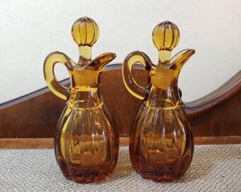 Imperial Glass Co. Amber Glass Oil and Vinegar Cruet Set
