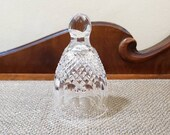 Vintage Waterford Crystal Colleen Dinner Bell 5 quot Tall, Crosshatch Thumbprint, Engraved