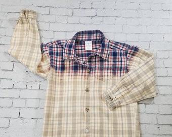 Kids Bleached Flannel Shirt Sz 5 Kids, Long Sleeve Flannel Kids Shirt, Hand Bleached Flannel Shirt, Cool Ombre Fade, Boho Grunge