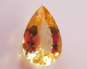 Pear Cut Citrine Loose Gemstone, 18x12mm 9.6ct, Teardrop Citrine