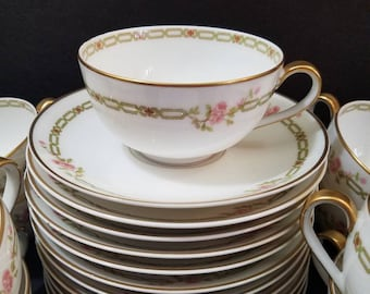 Rare Schleiger Theodore Haviland Teacup and Saucers Set of 10, Limoges France, Pink Roses with Green Chain Border, Gold Rim