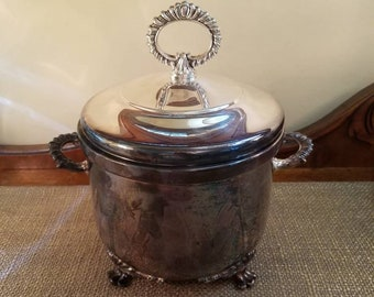 Vintage Silverplate Footed Ice Bucket with Lid - Mercury Glass Lining - Ornate Silverplate Ice Bucket