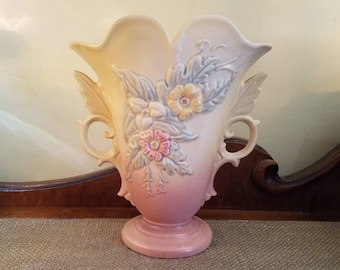 "Vintage Hull Art Ceramics Vase  9"" Tall, Mauve Pale Yellow Wildflower Ceramic Vase ,Mid Century Flower Vase w Handles"