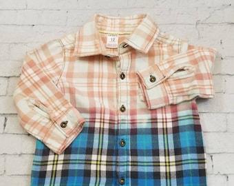 Kids Bleached Flannel Shirt - Long Sleeve Flannel Kids Shirt - 12 Months Kids, Blue Yellow Flannel Shirt - Bleached Flannel Shirt