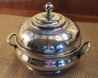 Antique Silverplate Bowl with Lid , Beaded Greek Key and French Tassel, Hand chased, Mid 1800's,  Covered Round Bowl