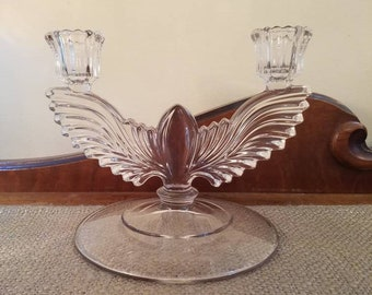 "Vintage Pressed Glass Candelabra - 7 "" Long - Double Candelabra, Double Candlestick Candelabra, 2 Arm Candelabra, Wedding Decor Party Decor"