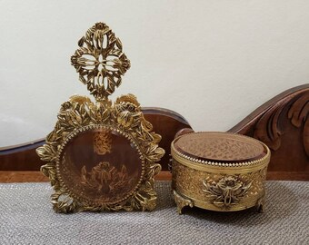 Vintage French Style Ormolu LARGE Perfume Amber Glass Bottle and Jewelry Box, Iris and Leaf Gold Plated, Pillowed Velvet Jewelry Casket