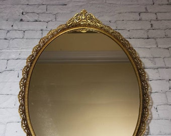 "Oval Brass Ornate Vanity Mirror Tray, Vintage 17.5"" Long Floral Embellished Filigree Ormolu Vanity Tray"