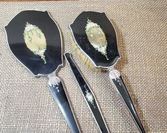 Vintage Art Deco Silvertone Black Enamel Floral Vanity Set w Hand Mirror, Brush + Comb Cover - 3 pc Vanity set - Beveled Edge Mirror