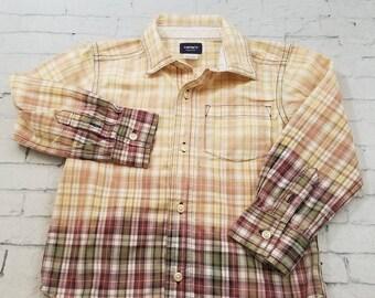 Kids Bleached Cotton Shirt Long Sleeve Kids Shirt 3T, Purple and Green Plaid Bleached Cool Ombre Fade Boho Grunge