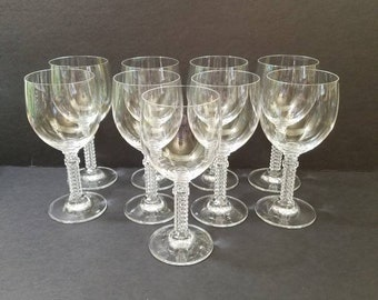 "Vintage Mod Stem Crystal Wine  Glass 6.5"" Tall,  Set of 9 Crystal Glasses"