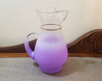 Vintage Blendo Orchid Ombre Pitcher with Gold Trim, Vintage Blendo Martini Pitcher, Vintage MCM Glass Water or Iced Tea Pitcher