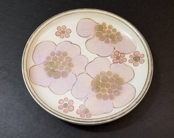 Denby-Langley Gypsy Salad Plate Set of 2, Lavender and Pink Poppy Fine English Stoneware