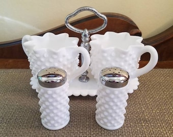 Fenton Milk Glass Hobnail Star Crimped Creamer and Sugar with Caddy and Salt and Pepper Shaker Set