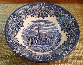 English Ironstone Soup Bowls Dickens Series, Blue and White Vintage Soup Bowl - English China Soup Bowl