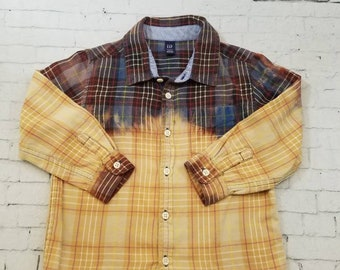 Kids Bleached Flannel Long Sleeve Shirt 5 Years Kids,Black and Blue Bleached Plaid Flannel Cool Ombre Fade Boho Grunge