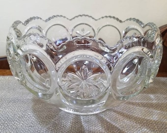 Vintage Tiffin-Franciscan Glass Punch bowl with 9 punch cups, Moon and Stars Punch Bowl, Retro Punch Bowl