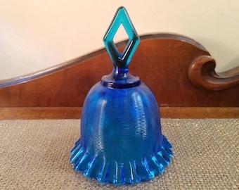 "FENTON Glass Colonial Blue Bell, Optic Thread - 5 1/2"" T,  Colonial Blue Bell, Threaded bell with Diamond Handle"
