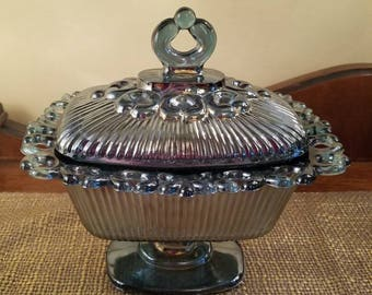 Vintage Indiana Glass Co. Blue Carnival Glass Covered Dish - Pedestal Oblong Candy Dish - Iridized