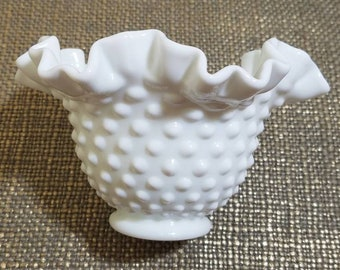 "Fenton Milk Glass Hobnail Vase 4"", Ruffled Edge Vase"