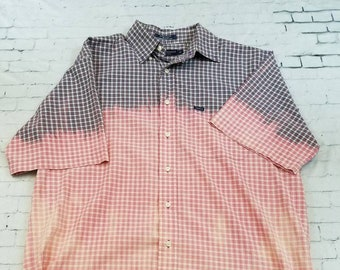 Bleached Short Sleeve Light Cotton Plaid Shirt, Mens Medium, Bleached Mens Shirt, Cool Ombre Fade, Updated Shirt, Boho Grunge