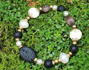 Handmade Gemstone Stretch Bracelet, Semi-precious with Matte Gold Tone, Aromatherapy Bracelet, Lava Stone, Real Pearl, Black and White