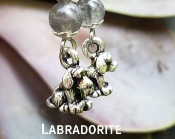 Handmade Gemstone Dangle Puppy Dog Earrings, Semiprecious, Choose Metal + Gem, Stainless Steel, Labradorite, Jade Hematite Goldstone