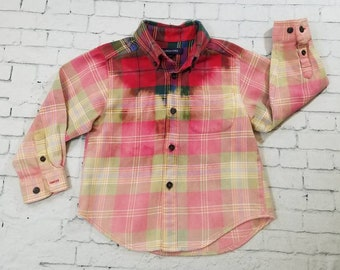 Kids Bleached Flannel Shirt 3T Kids, Long Sleeve Flannel Kids Shirt, Cool Mottled Ombre Flannel, Hand Bleached Flannel Shirt, Boho Grunge