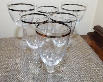 "Fostoria Reflection Crystal Set of 6 Glasses 6 3/4"", 4 Iced Tea and 2 Water Goblets, Platinum Rim Stemware"