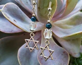 Handmade Gemstone Dangle Star of David Earrings, Opalite and Blue Tiger Eye, Stainless Steel Fish hook Earrings, Batmitzvah Bridesmaid