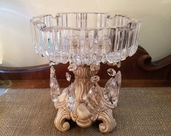 Vintage Pressed Glass Ash Tray with Crystals on Metal Base, Hollywood Regency Painted Glam Ashtray, Creamy Dreamy Latte