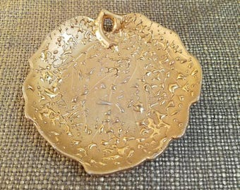 """Vintage Weeping Gold Rounded Leaf Snack Dish with stem hole - 5.5"""" Long - Weeping Gold candy dish - Vintage Gold Rounded Leaf Nut Dish"""