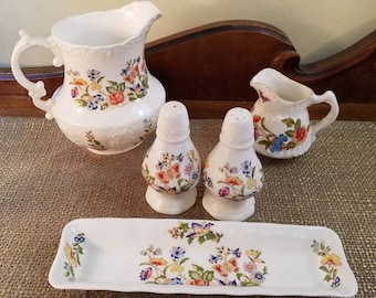 Vintage Aynsley Cottage Garden Lot - Butterfly Multicolor-  Pitcher set, Long Tray and Salt & Pepper Shakers - Vintage English China