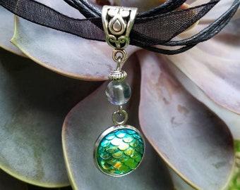 Handmade Gemstone Mermaid Ribbon/Cord Necklace, Semi-precious, Bead Drop Pendant, Rainbow Quartz, Green Mermaid Scale Bezel, Black Cord